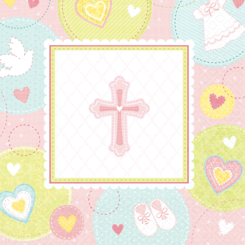 Picture of TABLEWARE - SWEET CHRISTENING PINK BEVERAGE NAPKIN