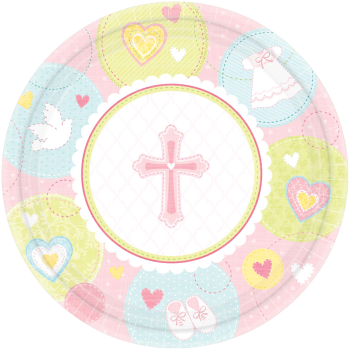 "Picture of TABLEWARE - SWEET CHRISTENING PINK 7"" PLATE"