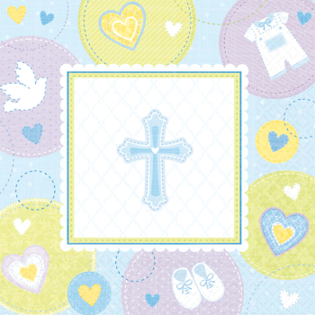 Picture of TABLEWARE - SWEET CHRISTENING BLUE BEVERAGE NAPKIN