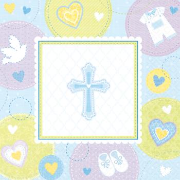 Image de TABLEWARE - SWEET CHRISTENING BLUE BEVERAGE NAPKIN