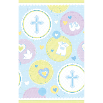 Picture of TABLEWARE - SWEET CHRISTENING BLUE PLASTIC TABLECOVER