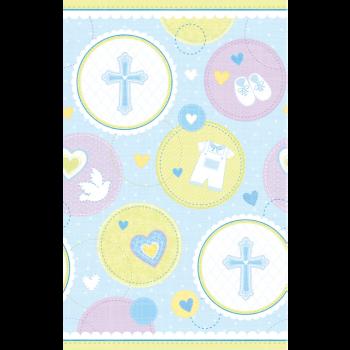 Image de TABLEWARE - SWEET CHRISTENING BLUE PLASTIC TABLECOVER