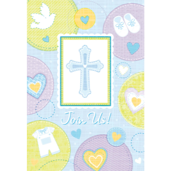 Picture of TABLEWARE - SWEET CHRISTENING BLUE INVITE & THANK YOU SET