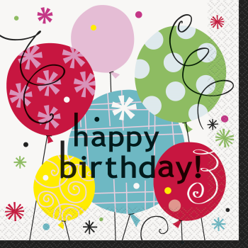 Picture of TABLEWARE - BREEZY BIRTHDAY - LUNCHEON NAPKINS