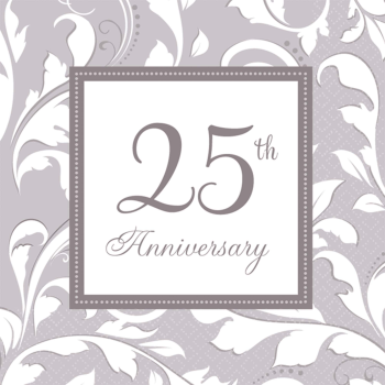 Picture of 25th SILVER ELEGANT SCROLL ANNIVERSARY BEVERAGE NAPKIN