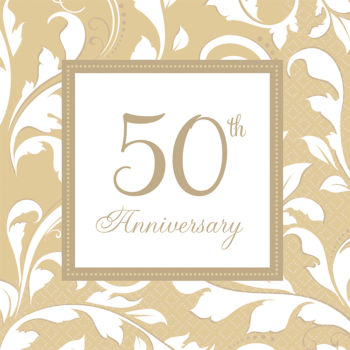 Picture of 50th GOLD ELEGANT ANNIVERSARY BEVERAGE NAPKIN