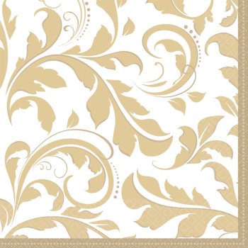 Picture of GOLD ELEGANT SCROLL LUNCHEON NAPKIN