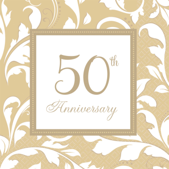 Picture of 50th GOLD ELEGANT ANNIVERSARY LUNCHEON NAPKIN