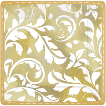 "Picture of GOLD ELEGANT SCROLL 7"" METALLIC SQUARE PLATES"