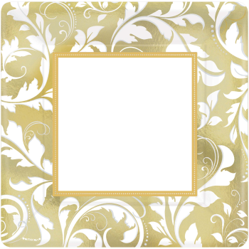 "Picture of GOLD ELEGANT SCROLL 10"" METALLIC SQUARE PLATES"