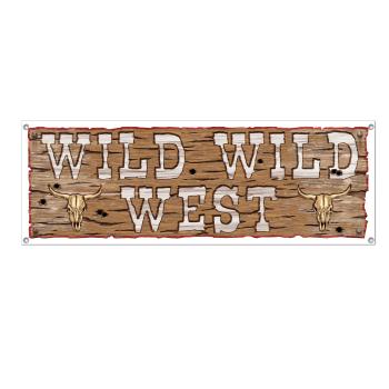 """Image de DECOR - WILD WILD WEST SIGN BANNER - 5' X 21"""""""