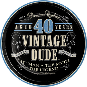 "Picture of 40th VINTAGE DUDE - 7"" PLATES"