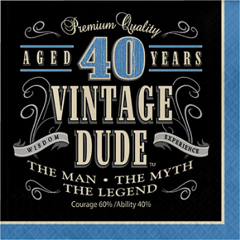 Picture of 40th - VINTAGE DUDE - LUNCHEON NAPKIN