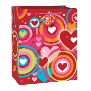 Image de DECOR - GIFT - RETRO HEARTS LARGE BAG