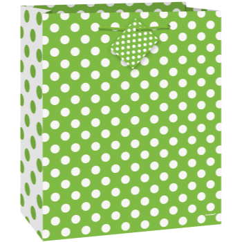 Picture of LIME GREEN DOTS - MED GIFT BAG