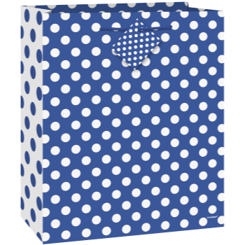 Picture of ROYAL BLUE DOTS - MED GIFT BAG