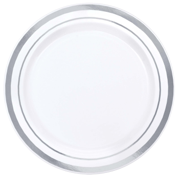 "Picture of 6"" PREMIUM PLS WHITE PLATES W/ SILVER TRIM"