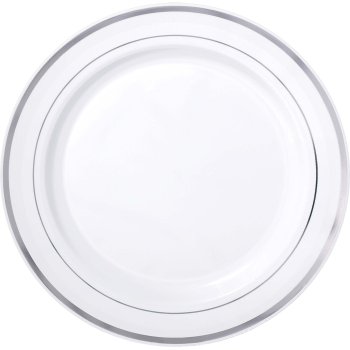"Picture of 10"" PREMIUM PLASTIC WHITE PLATES WITH SILVER TRIM"