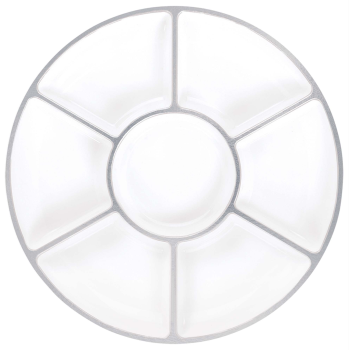 "Image de 16"" LAZY SUSAN TRAY - WHITE WITH SILVER TRIM"