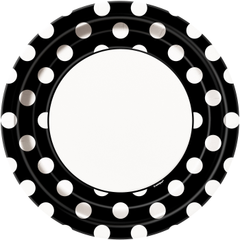 "Picture of BLACK DOTS 9"" PLATES"