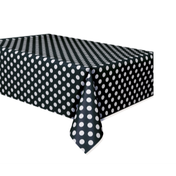 Image de BLACK DOTS PLASTIC TABLECLOTH