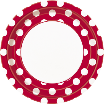 """Picture of RED DOTS 9"""" PLATES"""