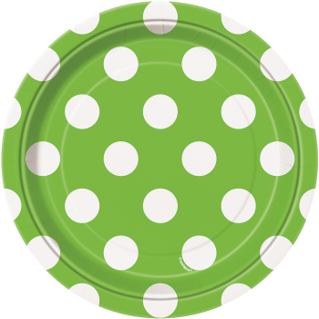 """Picture of LIME GREEN  DOTS 7"""" PLATES"""