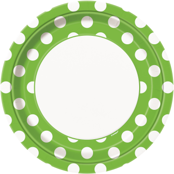 """Picture of LIME GREEN DOTS 9"""" PLATES"""