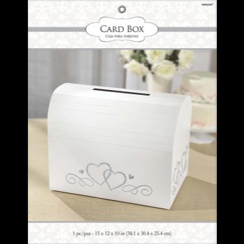 Picture of GLITTER CARD BOX HOLDER W/SILVER HEARTS