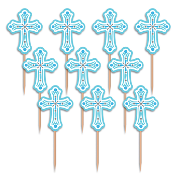 Picture of DECOR - CROSS PARTY PICKS - BLUE