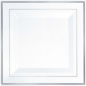 "Picture of 10"" SQUARE PLATES - WHITE WITH SILVER TRIM"