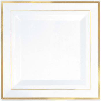 "Picture of 10"" SQUARE PLATES - WHITE WITH GOLD TRIM"