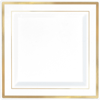 "Picture of 7"" SQUARE PLATES - WHITE W/ GOLD TRIM 8/PK"