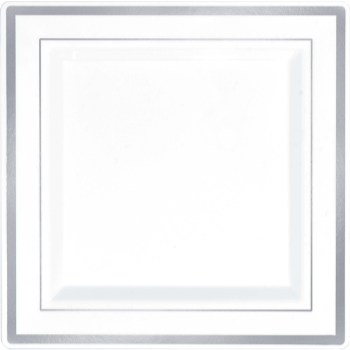 "Picture of 7"" SQ PLATES - WHITE W/ SILVER TRIM 8/PK"