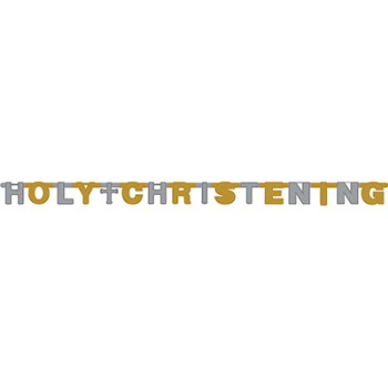 Image de DECOR - CHRISTENING BANNER  - GOLD AND SILVER