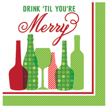 Image de TABLEWARE - HOLIDAY TOAST DRINK MERRY - BEVERAGE NAPKINS