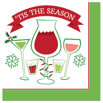 Image de TABLEWARE - HOLIDAY TOAST 'TIS THE SEASON - BEVERAGE NAPKINS