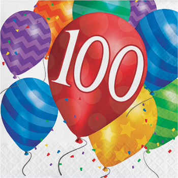 Picture of 100th - BALLOON BLAST - LUNCHEON NAPKIN