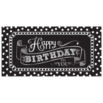 Picture of DECOR - HAPPY BIRTHDAY GIANT SIGN BANNER - BLACK AND WHITE