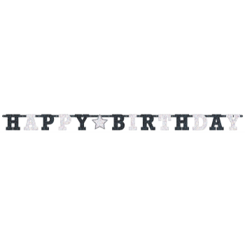Picture of DECOR - HAPPY BIRTHDAY PRISMATIC BANNER - BLACK AND WHITE