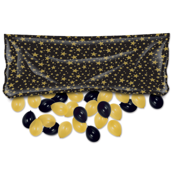 Picture of BALLOONS - PRINTED GOLD STARS BLACK DROP BAG