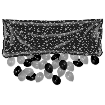 Picture of BALLOONS - PRINTED SILVER STARS BLACK DROP BAG