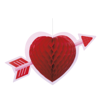 Picture of DECOR - HEART HONEYCOMB HANGING DECORATION