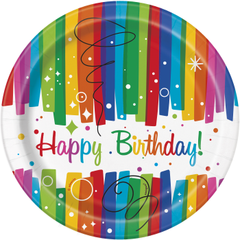 """Picture of TABLEWARE - RAINBOW RIBBONS BIRTHDAY - 7"""" PLATE"""