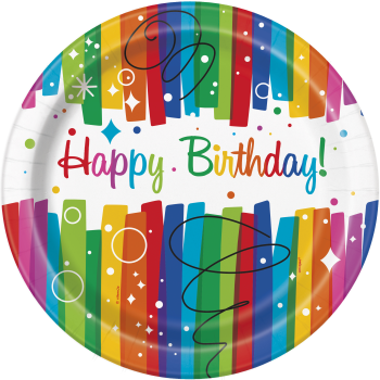 """Picture of TABLEWARE - RAINBOW RIBBONS BIRTHDAY - 9"""" PLATE"""