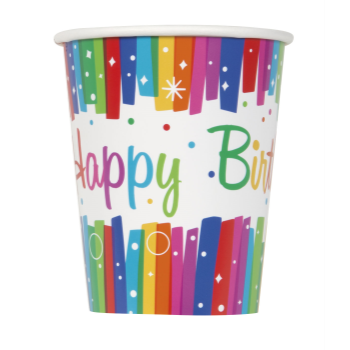 Picture of TABLEWARE - RAINBOW RIBBONS BIRTHDAY - 9oz CUPS