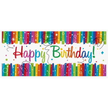 Picture of DECOR - RAINBOW RIBBONS BIRTHDAY GIANT BANNER