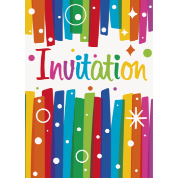 Picture of TABLEWARE - RAINBOW RIBBONS BIRTHDAY INVITATIONS