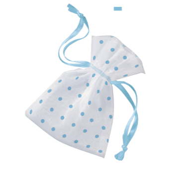 Picture of ORGANZA FAVOR BAGS WITH BLUE DOTS