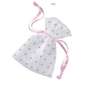 Picture of ORGANZA FAVOR BAGS WITH PINK DOTS